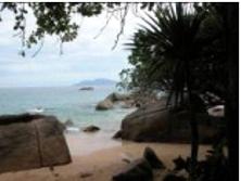 Idylic rocky tropical beach